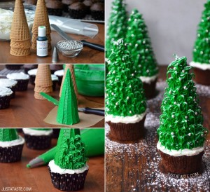 Christmas Tree Cupcakes Tutorial by Just a Taste