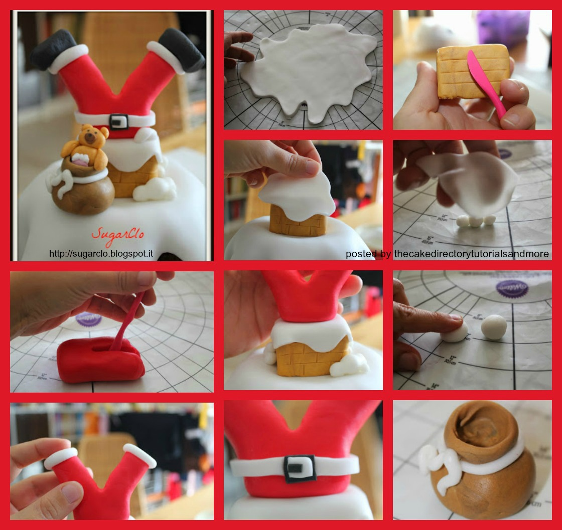 How to make a father christmas cake decoration - Santa Chimney Tutorial By Sugarclo