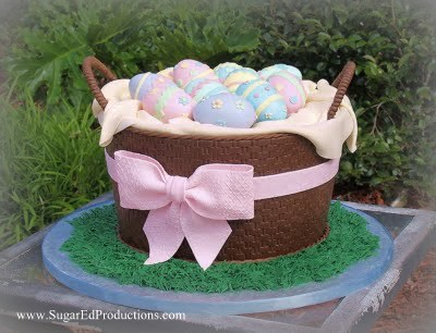 Easter egg basket cake tutorial created by sugared productions easter egg basket cake tutorial created by negle Gallery