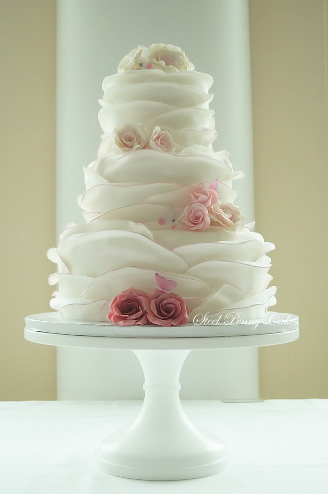how to make ruffle rose wedding cake fondant ruffle wrap tutorial by steel cakes the 15988